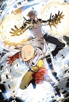 Anime One Punch Man Saitama & Genos - High Grade Glossy Laminated Poster