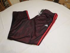 Adidas basketball Climalite active pants double up mesh NEW XL black red Men's