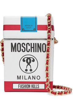 MOSCHINO Printed Leather Shoulder Bag. #moschino #bags #shoulder bags #leather
