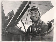 1936- Commander Jamba, one of the first flyers of the Mongolian Peoples Republic, in command of the aviation brigade of the Mongolian Peoples Revolutionary Army, in the cockpit of his airplane.