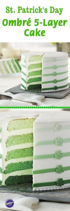 Celebrate St. Patrick's Day with this green ombre 5-layer cake! Bake cake using the Wilton Easy Layers Cake Pan set to bake cakes all at once. Decorate the sides of the cake with fondant strips and shamrock flowers.