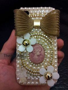 Iphone 4 case iphone 4s case cover  Elegant Pink 4s Victorian Queen  Gold Bow Flower Pearl Rhinestone Crystyal. $33.99, via Etsy.