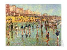 Passing Time on Brighton Beach Giclee Print by Robert Tyndall at eu.art.com