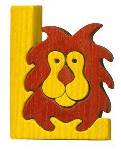 Montessori - Waldorf wooden puzzle letter L(ion)