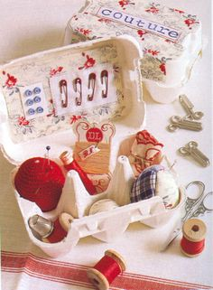 Sewing box from egg carton