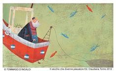 """Tommaso D'Incalci illustration for """"Il vecchio che divenne pescatore""""."""