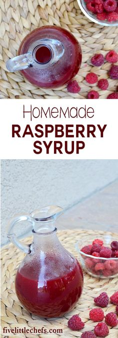 Homemade raspberry syrup is sweet which makes it perfect to put on french toast, pancakes or waffles. It is also delicious on top of a bowl of ice cream. This is an easy recipe to whip up! fivelittlechefs.com