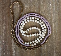 Long Beaded Necklace White Turquoise Lilac and by lamaisondefloria