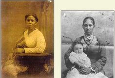 Mahala Lynch Davis, married her former slave owner Isaac P. Davis in 1857. On the right is their daughter Martha Davis Wilson (b. 1848) holding her baby Julia Wilson (Car). Davis freed Mahala and then married her moving from his former Virginia plantation to Chilicothe, southern Ohio. Many free Blacks, former plantation owners, and former slaves including 2 of Thomas Jefferson's mulatto children moved to towns in southern Ohio during antebellum times.