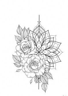 Dotwork Tattoo Mandala bloem tatoeages - kleine bloem tatoeages - tattoos bloemenhoezen - Lotus Flower Tattoos - bloem tatoeages acuarela - Bloem t Mandala Tattoo Design, Tatuaje Mandala Floral, Dotwork Tattoo Mandala, Floral Mandala Tattoo, Flower Tattoo Arm, Tattoo Designs, Tattoo Flowers, Aum Tattoo, Mandala Rose