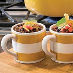Try this hearty black bean chili recipe. It's packed with beans, onion, canned tomatoes, and meatless burger crumbles.