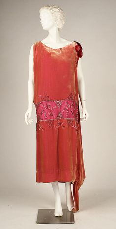 Circa 1926 silk, glass, and metal evening dress by House of Worth, French.
