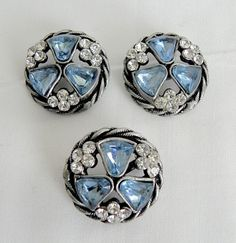 Rare Vintage Silver & Rhinestone Tulips Set 2 Buttons & Matching Pin WoW!