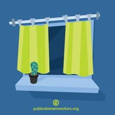 Vector image of a window with green curtains. Green Curtains, Public Domain, Clip Art, Windows, Vectors, Flowers, Image, Cold, Green Home Curtains