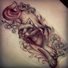 spirit wolf tattoo by Katelyn Crane.