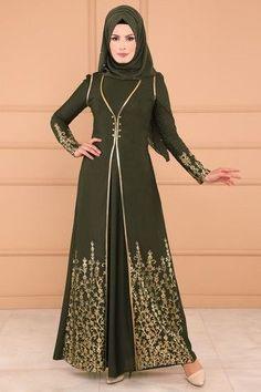 Vest Looking Dress Khaki 44 Abaya Fashion, Modest Fashion, Fashion Outfits, Muslim Women Fashion, Islamic Fashion, Modest Dresses, Modest Outfits, Hijab Dress Party, Hijab Outfit