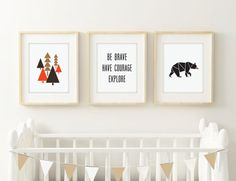 Be Brave Have Courage Explore Printable Set Boy's Nursery | Click, print, and hang!