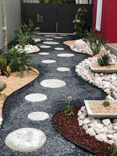 breathtaking garden paths in the front yard Ideas for landscaping . - Gartengestaltung breathtaking garden paths in the front yard Ideas for landscaping . Side Yard Landscaping, Landscaping With Rocks, Landscaping Ideas, Mailbox Landscaping, Inexpensive Landscaping, Gravel Landscaping, Florida Landscaping, Gravel Garden, Garden Paths