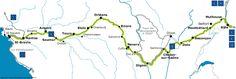 Carte de l'itinéraire cyclable de l'eurovelo 6