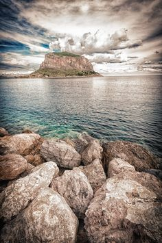 Ritsos : Rocky ship . One of the most beautiful places,Malvasia.Rock Monemvasia, Peloponnese, Greece