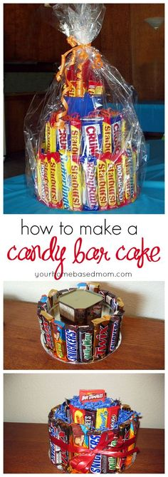 How to make a candy bar cake. This is a great cheap gift idea or novelty present. Could be cool for a slumber party or movie night feature too!