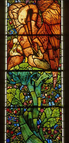 Brampton, Cumbria, east window, Pelican in her piety and foliage design by gordonplumb, via Flickr