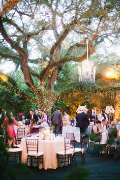 Beautiful balance in wrapped lighting around the gree and the chandelier. Villa Woodbine wedding in Coconut Grove / photo by soulechostudios.com