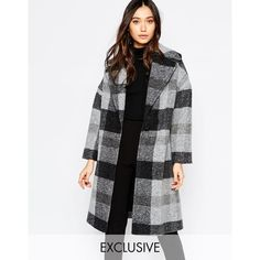 Helene Berman Gray Stripe Oversize Collar Coat (2 830 ZAR) ❤ liked on Polyvore featuring outerwear, coats, greyblack, helene berman, grey oversized coat, gray coat, grey coat and oversized coat