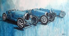 """Bugatti Lineup"" by Fries Reyntjens (173cm x 90cm acrylic on canvas)"