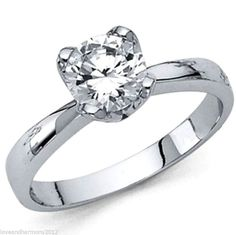Real 14K solid white gold 1.25ct round Brilliant cut Solitaire Engagement Ring