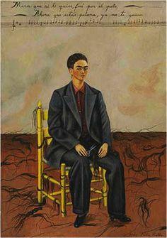 Frida Khalo, self-portrait with cropped hair, 1940 Dit werk geeft ook een kijkje in de 'state of mind' van de vrouw op de stoel. Het lijkt alsof ze een identiteitscrisis heeft. Ze schilderde dit na de scheiding met haar man. Ze zit er bijna bij als haar man.