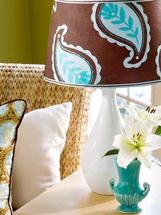 Amy Butler Inspired Lampshade Adorn a lampshade with custom-made paper cutouts.
