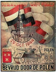 Poster with thanks for the soldiers from the Polish 1st Armoured Division of…