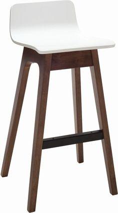 """Ava"" White Veneer Seat and Oak Legs Modern Kitchen Bar Stool - AU$279 - https://www.simplybarstools.com.au/products/ava-white-veneer-seat-and-oak-legs-modern-kitchen-bar-stool – Simply Bar Stools - walnut, bar height, fixed leg, bar stools. #Australia #Furniture"