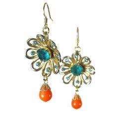 Upcycled Tangerine  Aqua  Flower Dangle Earrings by BluKatDesign, $25.00