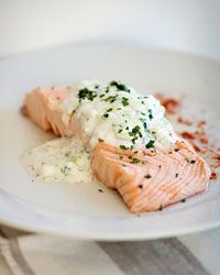 Poached salmon with yogurt topping.  Made this 2-27-13, cut back on the salt and water, didn't have mint, substituted dill.  Really easy to put together for weeknight. Just wish I had made more for cold leftovers!