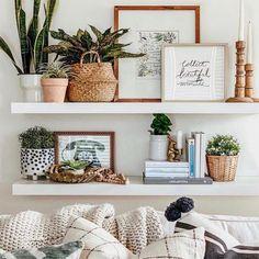 Living Room Decor, Bedroom Decor, Wall Decor, Shelf Ideas For Living Room, Ikea Decor, Shelving In Living Room, Dinning Room Shelves, Bedroom Shelving, White Room Decor