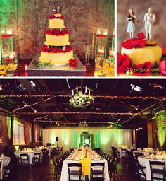 I would love to bring touches of the Wizard of Oz as inspiration into my wedding decor! I Love color so I am thinking emerald green dresses with red/yellow flowers. I love the way this reception hall is decorated!