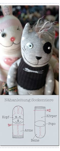 sock softie tutorial in german / Nähanleitung Sockentiere Sewing Toys, Sewing Crafts, Sewing Projects, Sock Crafts, Kids Crafts, Creative Crafts, Softies, Plushies, Sock Dolls