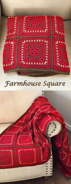 Crochet Blanket Pattern - Chunky Granny Squares - Farmhouse Square by Deborah O'Leary Patterns #crochet #baby #blanket #granny #square #pattern