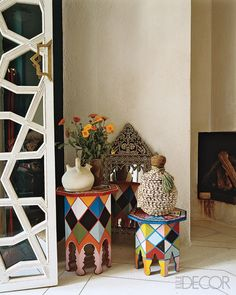 ~ traditional side tables with hand painted harlequin pattern