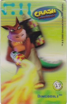 CARD CARTA 3D  CRASH BANDICOOT MR. DAY PARMALAT 2000 CARTA N.  17  OTTIMA