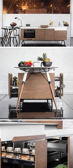 The perfect compact and adaptable kitchen for cooking and conversing with friends.