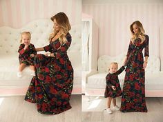 Red rose - matching floral mother and me dresses, family outfits, mother and daughter dresses, child dress, girl dress, family look