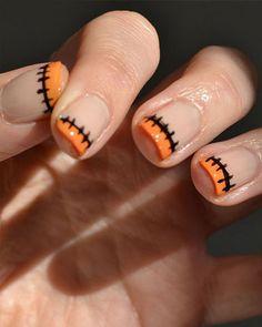 un nail art avec une plaie recousue #ongle