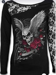 Top, Lace Sleeve Rose Skull