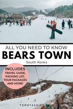 Bears Town Ski Resort near Seoul in South Korea | Torn Tackies Travel Blog | Bears Town Ski Resort is one of the closest ski parks to Seoul in South Korea. It's a great place to ski and snowboard for beginners and families. Here's your guide to Bears Town, the best tour packages, how to get to Bears Town from Seoul and so much more! korea winter | beautiful places korea | south korea destinations jeju island busan seoul | seoul korea | beautiful places | wanderlust #korea #seoul #winter #asia South Korea Destinations, South Korea Travel, Asia Travel, Japan Travel, Travel Destinations, Travel Route, Places To Travel, Travel Guides, Travel Tips