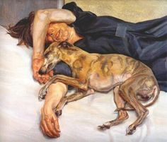 Double Portrait by Lucian Freud, The girl here is Freud's daughter and one of their Whippets. I have a large framed copy of this. The Whippet looks just like one I had in the late too. Lucian Freud Paintings, Dog Paintings, Figure Painting, Painting & Drawing, Kunst Online, Whippets, Dog Art, Figurative Art, Art History