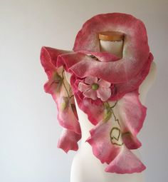 Felted scarf ruffle collar   Pink Rose. by galafilc on Etsy