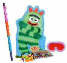 """Yo Gabba Gabba! Brobee Giant Pinata Party Pack Including Pinata, Pinata Candy and Toy Filler, Buster and Blindfold by Pinata. $76.05. Includes (1) themed Yo Gabba Gabba! Brobee Giant Pinata. 36""""H x 21""""W. Includes approximately 2 pounds of Candy and Toys. Caution: not recommended for children under 3 years of age. Includes one hard Plastic Pinata Buster that measures approximately 30"""". Caution: use only under adult supervision. Includes one Blindfold with Elastic String..."""